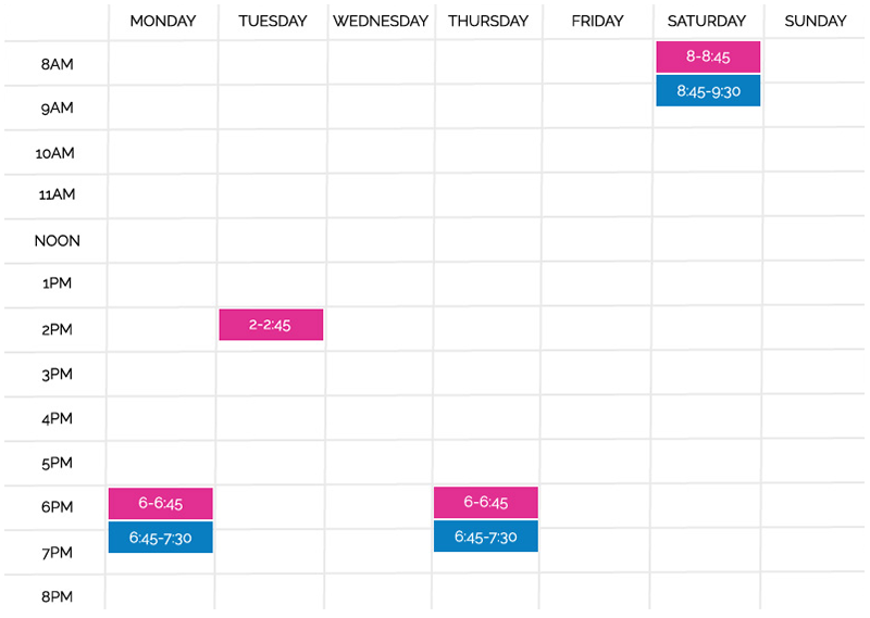 Clinical Pilates Timetable
